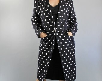 Polka Dots Coat, 90s Womens, Black White Polka Dots Gallery Coat Jacket, Size Medium, FREE SHIPPING