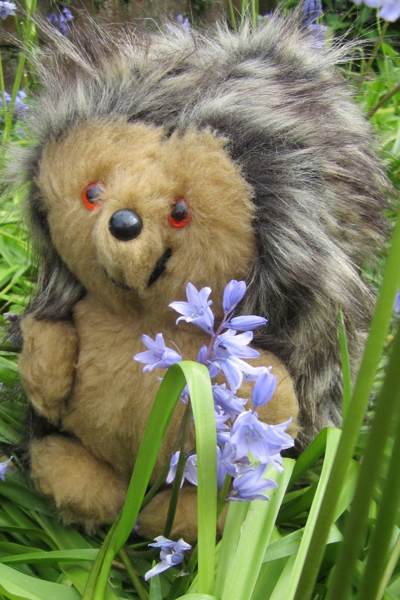 Toy Daddy Hedgehog Art Doll  Brown Plush Faux Fur Cream Black Flecked Animal Furry Pram Cot Toy Boy or Girl Christmas Stocking Stuffer