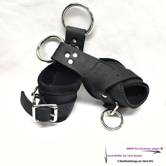 BDSM Suspension Cuffs Leather Black Lined with BLACK Suede