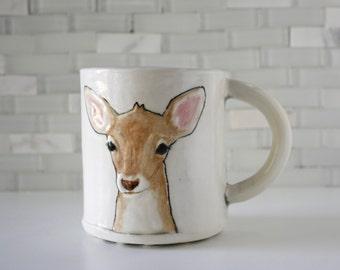 Deer Mug | fawn deer woodland | coffee mug tea cup | brown tan white with mint inside | original animal mug | made to order