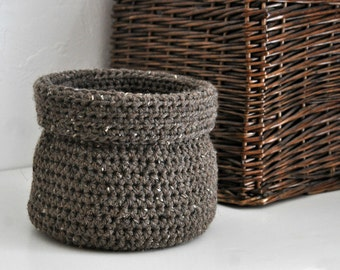 Rustic Brown Basket Catchall Storage Bin Modern Decor Contemporary Design