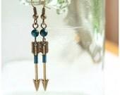 Tribal Arrow Earrings, Archery Earrings, Aztec Earrings, Teal Azurite Chrysocolla Earrings. Hunt Wilderness Shooting Target, Weapon Jewelry