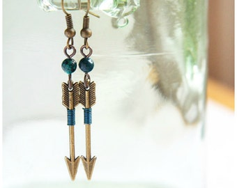 Summer Party Tribal Arrow Earrings Archery Earrings Aztec Earrings Teal Azurite Chrysocolla Earrings Hunt Wilderness Shooting Target