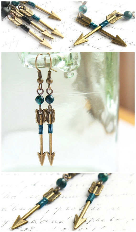 Tribal Arrow Earrings, Archery Earrings, Aztec Earrings, Teal Azurite Chrysocolla Earrings. Hunt Wilderness Shooting Target, Weapon Jewelry