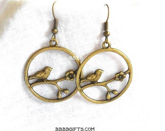 Bird Earrings Tree Branch Flower Earrings Bronzed Earrings Hoop Earrings Open Charm Earrings