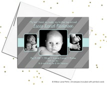 Custom baby birth announcements cards - siblings birth announcement printable - multiple photo announcement - brothers - modern (110)