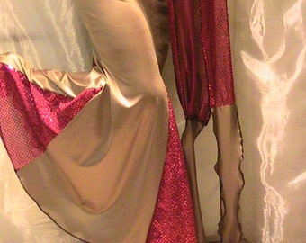 Belly dance trumpet skirt, mermaid skirt, performance skirt in silky Bronze Lycra and shimmering glitter dot