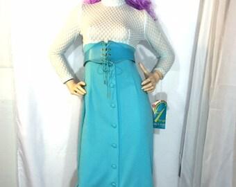 Vintage Dress Maxi w Corset Belt Robin's Egg Blue and White Honeycomb Gro-Up Dacron Robert Mannus 60's Mid Century Mod Juniors Fashion
