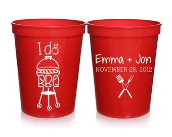 Engagement Party Favors - I Do BBQ Personalized Wedding Cups, Wedding Shower Favors, Couples Shower, Wedding Party Cups, 16 oz. Stadium Cups