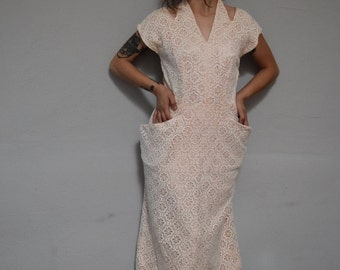 50s halter neckline shift wiggle 1950s vintage mid century midi v neck pale pink lacey pin up dress womens retro romantic small s medium M