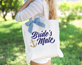 Nautical Wedding Tote Bags for Bride and Bridesmaids - Bridal Party Tote Bags for Wedding or Bridal Shower Gifts (Item - BNB200)