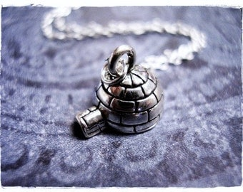 Silver Igloo Necklace - Sterling Silver Igloo Charm on a Delicate Sterling Silver Cable Chain or Charm Only