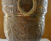 VINTAGE  GHALAMZANI Solid Brass Ice bucket Equisite Hand Tooled Motif & Removable Copper Liner Metalwork Ghalamzani 3PC Ice Bucket