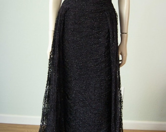 1960s Luis Estevez Lurex Embroidered Net Evening Gown // Ruched Hourglass Bombshell - Floating Panels // Feminine Black Tie Formal Couture