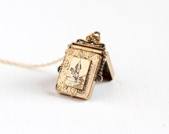 Sale - Antique Victorian Gold Filled Locket Fob - Vintage 1800s Embossed Church Tower Spire Steeple Dwelling Motif Necklace Pendant Jewelry