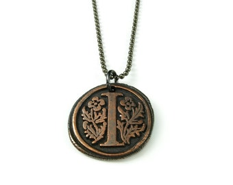 Letter I Necklace   Wax Seal Initial Pendant Necklace in Copper   Double-Sided Letters   Handcrafted Personalized Monogram Jewelry