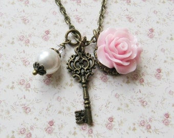 Pink flower charm necklace, white Swarovski pearl, vintage style bronze jewelry, for her, charms, Europe