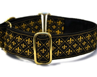 Martingale Dog Collar or Buckle Dog Collar - Versailles Jacquard - 1.5 Inch