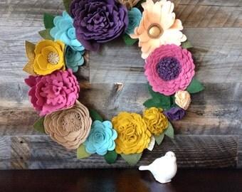 Peony beauty Felt Wreath / Felt Wreath / Floral wreath / home decor / front door / Felt flower wreath
