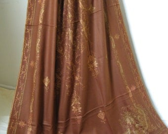 Kashmir Wool Shawl/Stole. Regency Style. Brown, Paisley Hand Embroidered