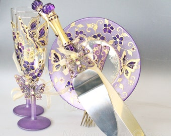Gold Purple Wedding Set, Butterfly Wedding Set, Champagne Glasses, Cake Server Set, Forks and Plate, Hand Painted