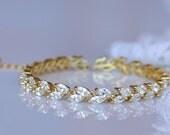 Gold Crystal Bridal Bracelet, Crystal Gold Bracelet,  Gold Tennis Bracelet, Crystal Bridal Jewelry, HAYLEY G