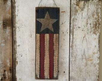 Primitive Flag, Americana, Primitive Americana, Stars and Stripes, Red White Blue, Patriotic, Barn Board Flag, Primitive Decor, 4th of July