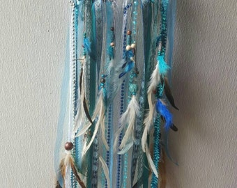 Customized Turquoise Owl Dream Catcher Beads Feathers Lace