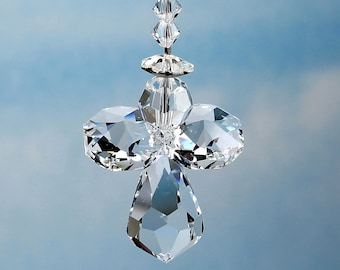 "m/w Swarovski® crystal - Guardian Angel Suncatcher Car Charm, For Car Rearview Mirror or Home, 7.5"" long with innovative hanging loop"
