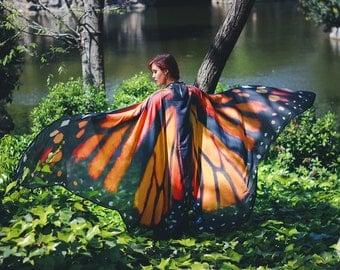 Butterfly cape wings costume adult Monarch Fairy cape chiffon belly dance cloak orange