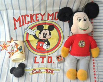 Vintage Mickey Mouse Collectibles/Bandana/Stuffed Toy/Cup/Magnet/Antenna Ball/70s Walt Disney 1976 12 Inch Doll/5 Piece Set/Fan Decor scarf