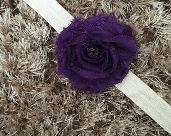 SUMMER SALE Purple Chiffon Headband, Shabby Chic Newborn Headband, Vintage Style Flower Baby Headband, Shambala Bead Sparkle Newborn Prop