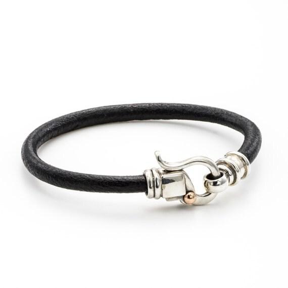 HANDMADE LEATHER BRACELET /leather cord bracelet /  Black leather bracelet/ birthday Gifts / leather bracelet 5 mm / handmade clasps