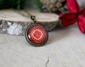 Muladhara Chakra Necklace, Antique Bronze Pendant, Glass Cabochon Pendant With Chain