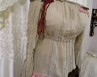 Peasant Top, tan boho gypsy top, elastic wrinkled chiffon peasant blouse style, SMALL or MEDIUM