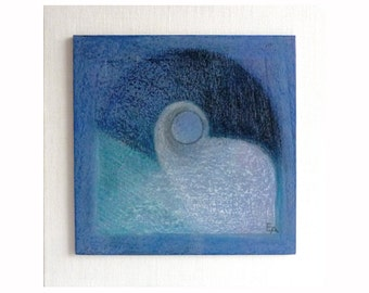 Abstract original painting, small abstract painting on wood, blue abstract, harmony