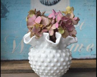 Fenton Shabby Chic Milk Glass Vase / Fenton Hobnail Vase / Wedding Centerpiece