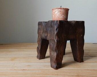 vintage carved wood candle holder   rustic home decor
