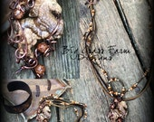 Rustic Wire Wrapped Necklace - Handmade with Copper and Jasper Horse (Equestrian)