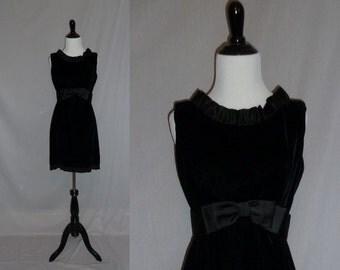 60s Little Black Dress - Velvet Party Dress - Sleeveless - Satin Bow and Ruffle Trim - LBD - Vintage 1960s - S