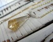 Rutilated Quartz Necklace Boho Necklace Crystal Amulet Gold Quartz Crystal Pendant  Pendant Unique 14K 15.5 inch Necklace Boho Necklace