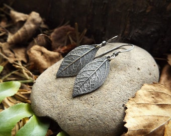 Elven Earrings- Oxidized Fine Silver Sassafras, Real Leaves   by Quintessential Arts