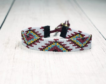Tribal Seed Bead Bracelet - Bead Loom Bracelet - BridesMaid Gifts - Native American Womens Bracelet - Adjustable Bracelet