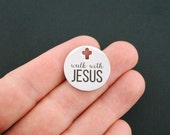 Jesus Stainless Steel Charm - Walk With Jesus - Exclusive Line - Quantity Options - BFS929