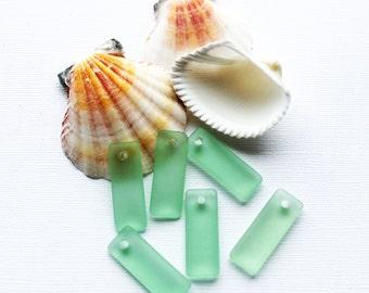 2 Sea Glass Pendants Cultured Rectangle Shape with Drilled Hole - U75