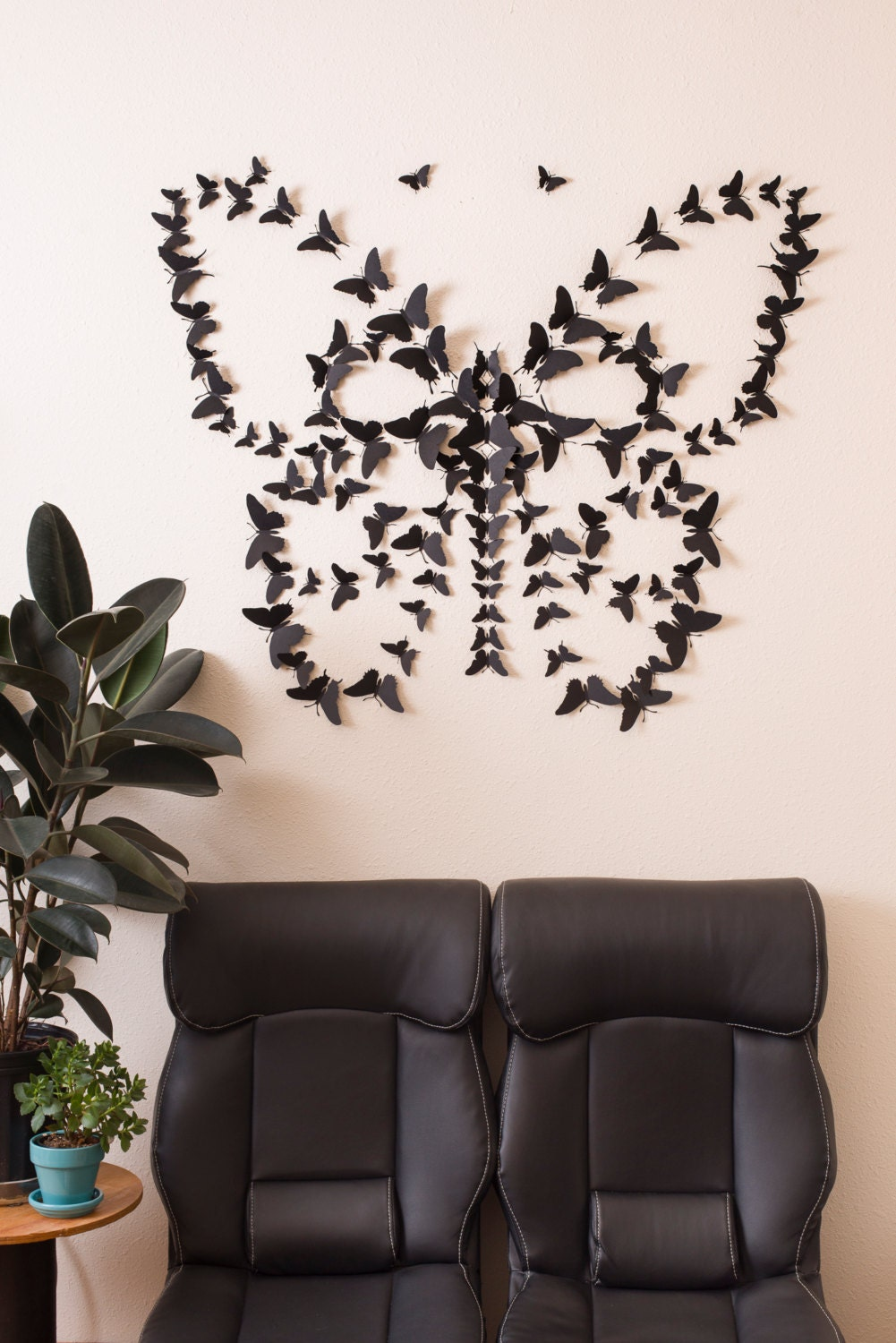 3d Wall Art For Contemporary Homes: Black 3D Butterfly Wall Art