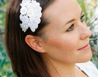 White Lace & Pearl Headband - Fascinator, Ivory Pearl with Floral Lace, Asymmetrical