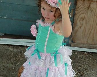 Aqua and Pink Mini Top Hat, Feather Fascinator, Birthday Party Hat, Weddings and Photo Shoots