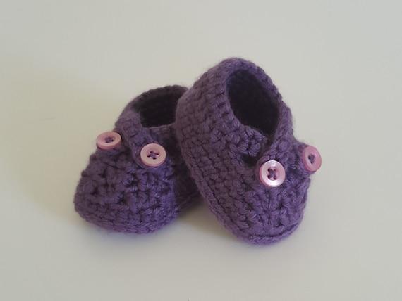 Crochet Purple Cross Strap Baby Shoes 6 12 months