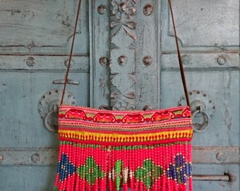 Vintage Hmong Clutch shoulder bag Hand embroidery Birds and flowers summer